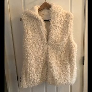 Winter white faux fur hooded vest